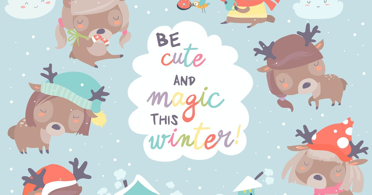 Download Set with cute little deers on winter background. by masastarus