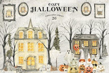Watercolor Halloween Cozy Clipart