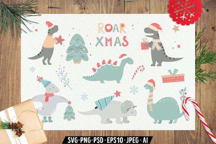 Christamas Dinosaurs. Holiday Set