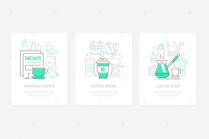 Thumbnail for Coffee concept - line design style banners set
