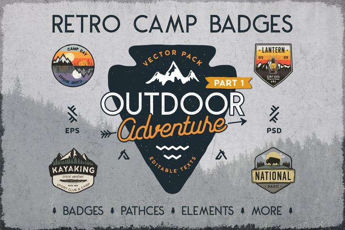 Thumbnail for Retro Camp Abzeichen/Outdoor-Logos Patches. Teil 1