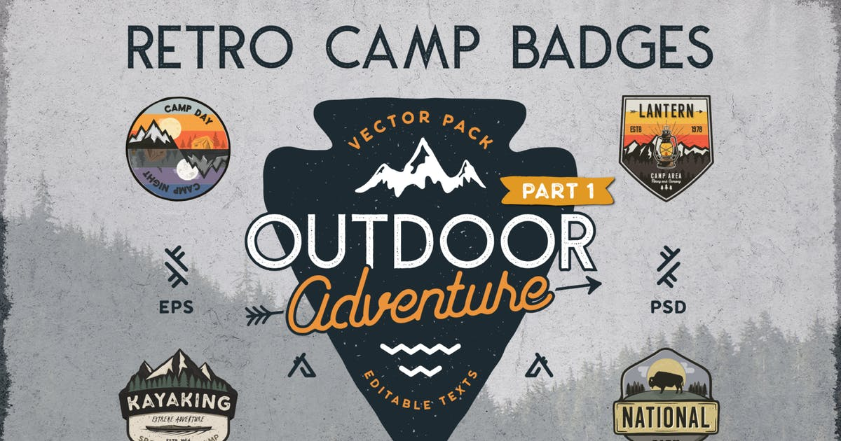 Download Retro Camp Badges / Outdoor Logos Patches. Part 1 by JeksonJS