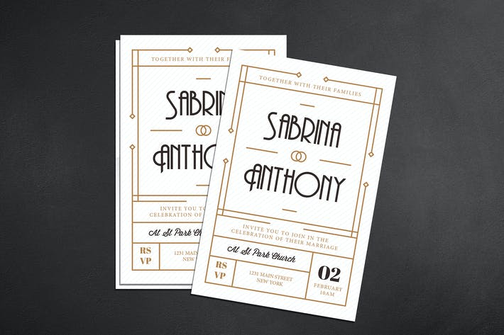 Thumbnail for Art Deco Wedding Invitation