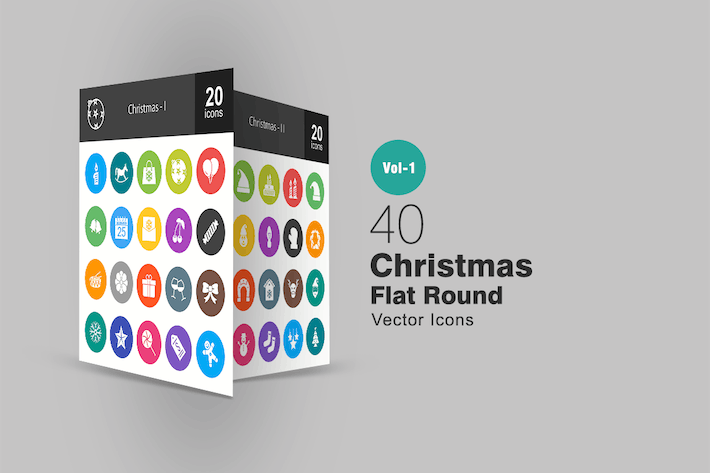 Thumbnail for 40 Christmas Flat Round Icons