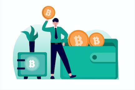 Bitcoin Wallet Flat Vector Illustration