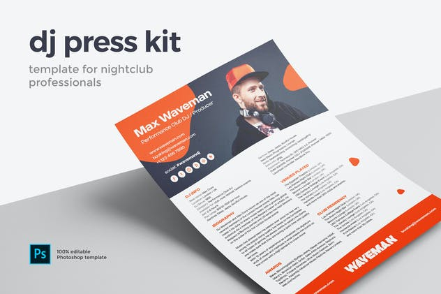 DJ & Producer Press Kit / Resume / Rider Template - product preview 0