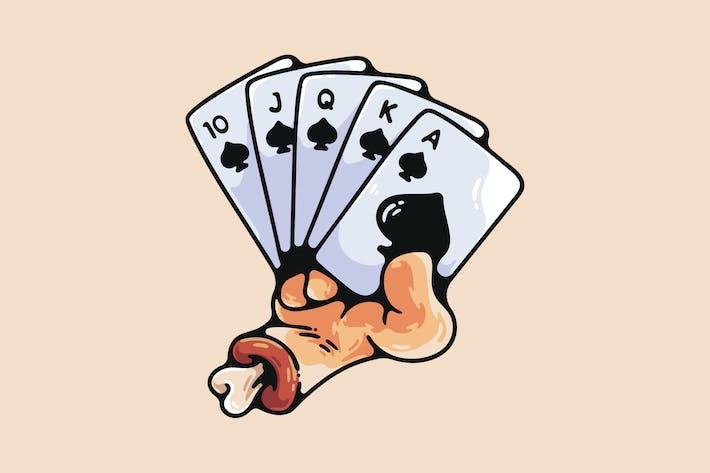 Thumbnail for Cartoon Hand Holding Royal Flush