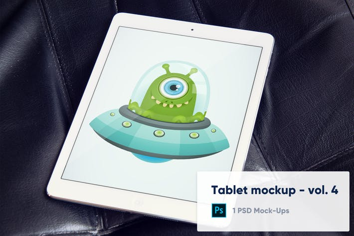 Thumbnail for Tablet Mockup on Black Leather Background - Vol. 4