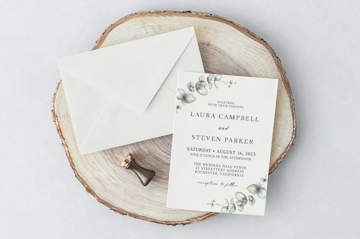 Elegant Eucalyptus Wedding Invitation
