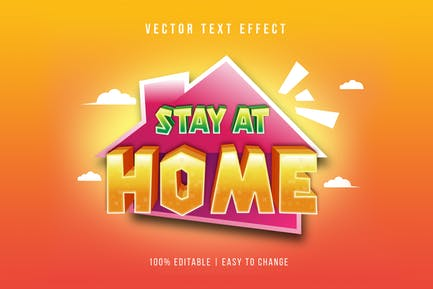 Stay Home - Cartoon Text Effect