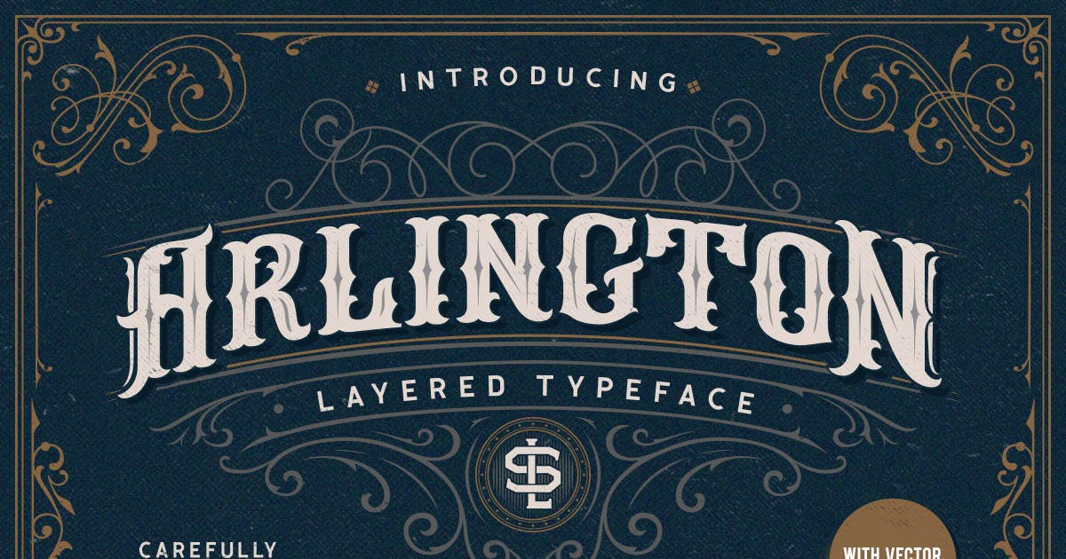 Arlington Layered Fonts & Ornaments by letterhend