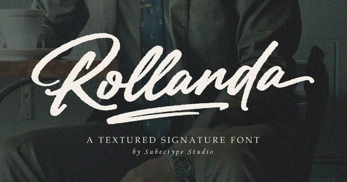 Download Rollanda - Textured Signature Font by Subectype