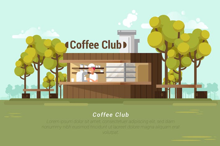 Thumbnail for Coffee Club - Vector Landscape & Builidng