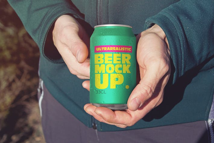 Thumbnail for Snuggled up Beer Can Mockup