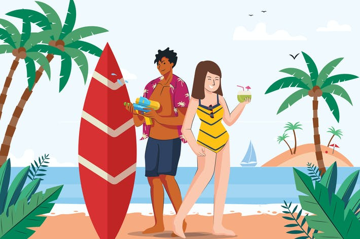 Thumbnail for Familien-Sommerurlaub am Strand Illustration