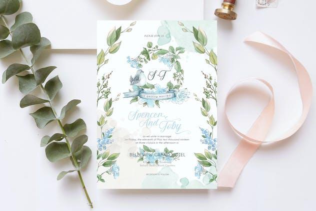 Blue Hydrangea Wedding Invitation Card