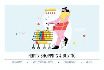 Happy Shoping y Compras Ilustración