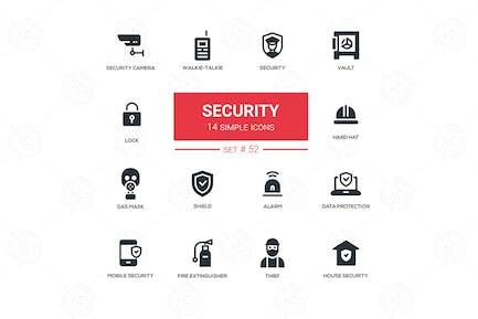 Business concept, security - line design icons set