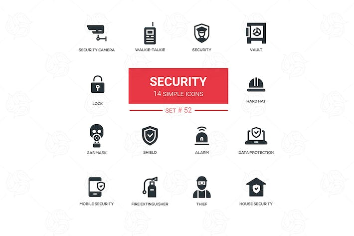 Thumbnail for Business concept, security - line design icons set