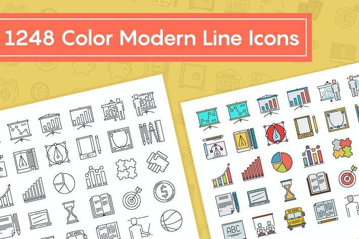 Íconos de línea Moderno de color