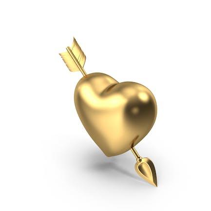 Goldenes Herz mit Pfeil