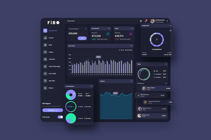 Thumbnail for FiBO Finance Dashboard Ui Dark - P