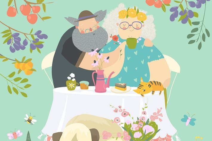 Thumbnail for Grandmother and grandfather have lunch in blossom