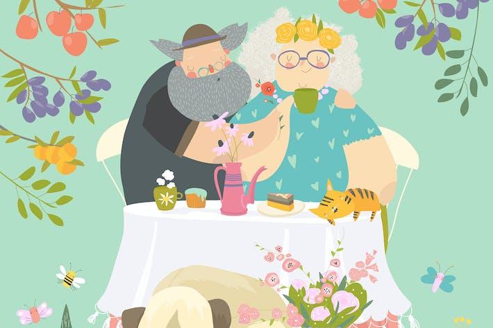 Thumbnail for Großmutter und Großvater essen in Blüte