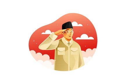 Indonesian patriot giving hand salute