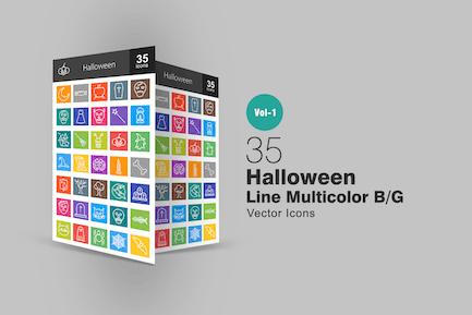 35 Halloween Linie Multicolor Icons