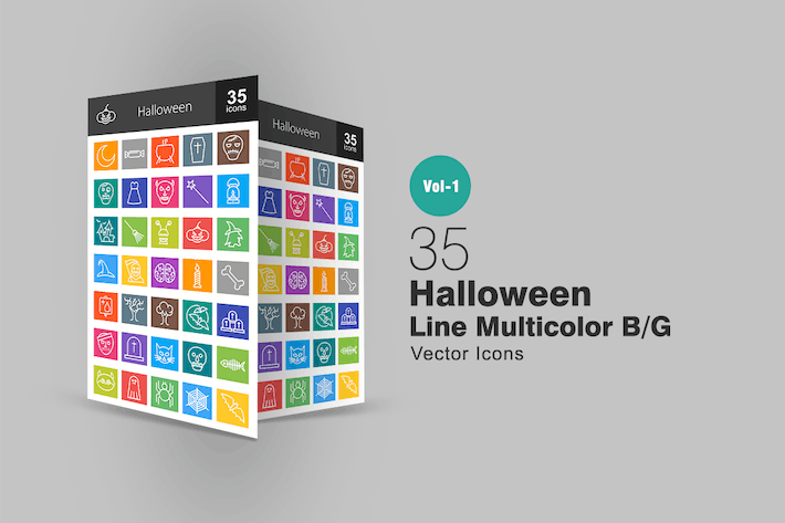 Thumbnail for 35 Halloween Line Multicolor Icons