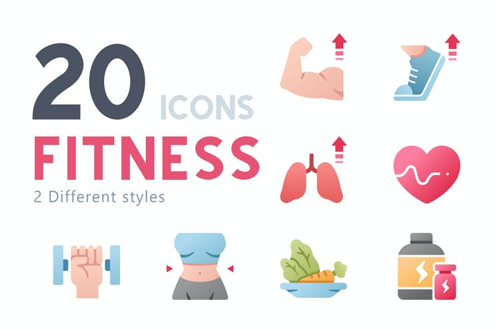 Thumbnail for 20 Fitness icon set