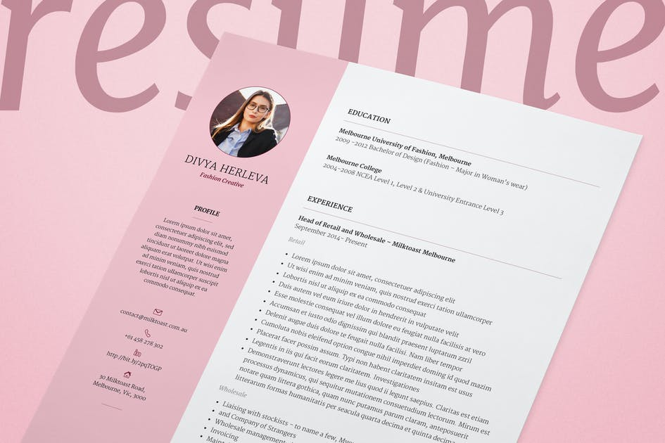 Download Double Page Resume/CV & Cover Letter by milktoast