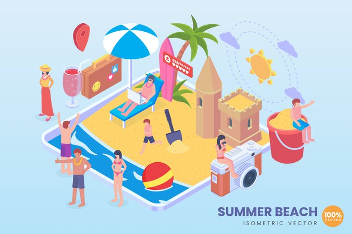 Thumbnail for Isometric Summer Beach Vector Concept