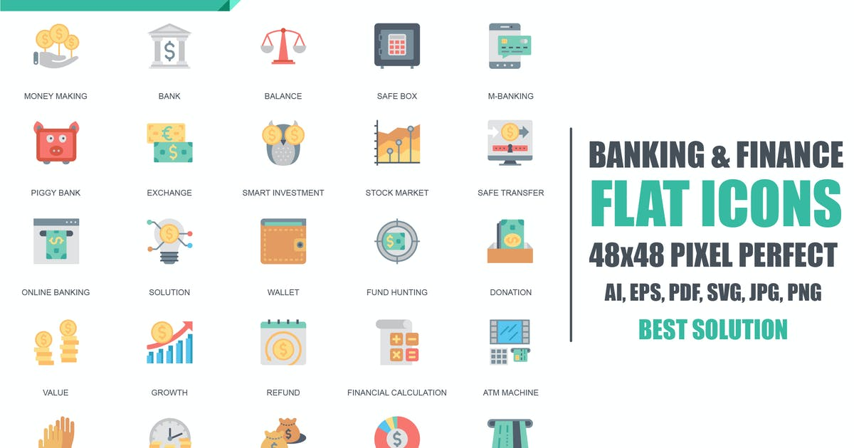 Download Simple Set Banking and Finance Flat Icons by alexdndz