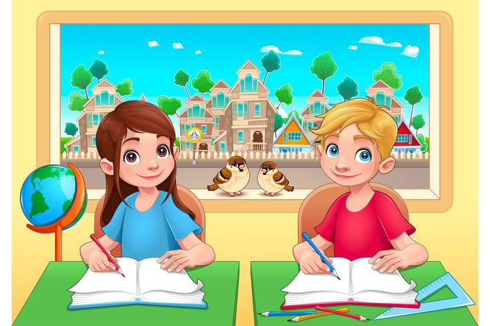Thumbnail for Young Students Boy and Girl in the Classroom