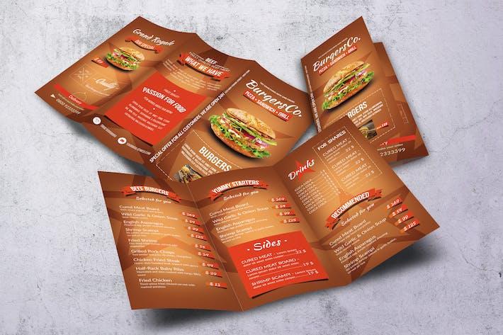 Thumbnail for American Burgers A4 Trifold Menu
