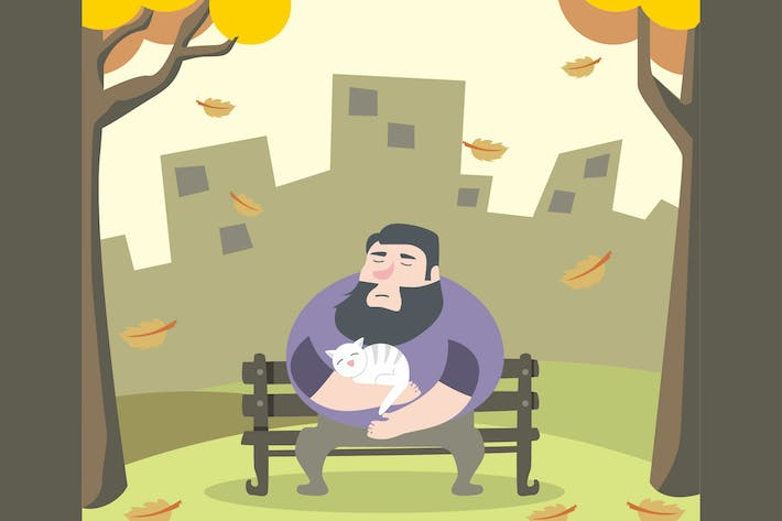 Thumbnail for Man in Park with Cat