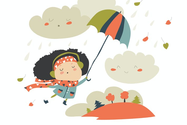 Thumbnail for Girl with umbrella playing with the fall leaves