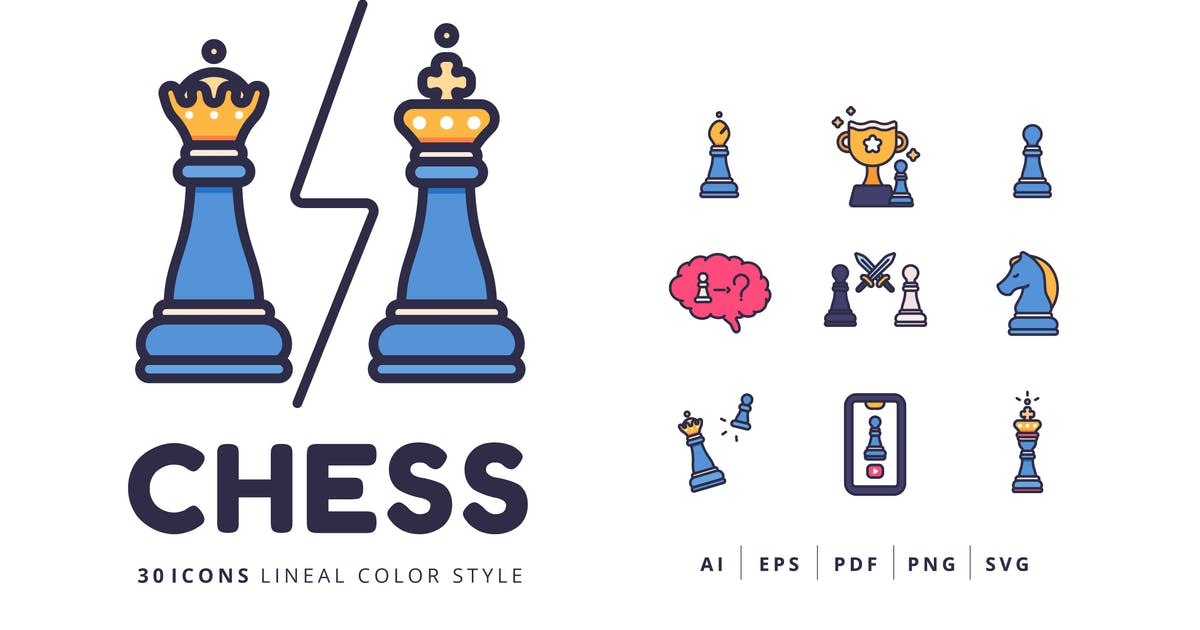 Download 30 Icons CHESS Lineal Color Style by Victoruler