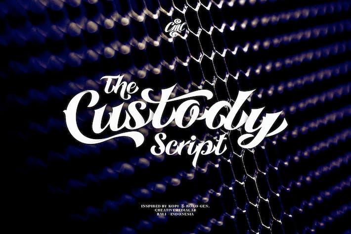 Thumbnail for Custody Script - Tattoo Font