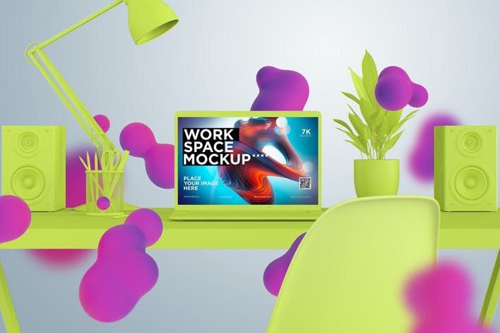 Thumbnail for workspace desk clay mockup with macbook pro