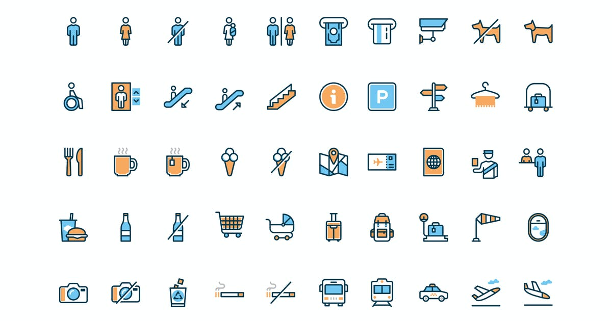 50 Wayfinding and Airport icons by Unknow