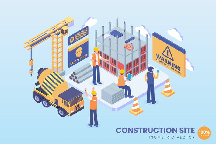 Thumbnail for Isometric Under Construction Site Vector Concept