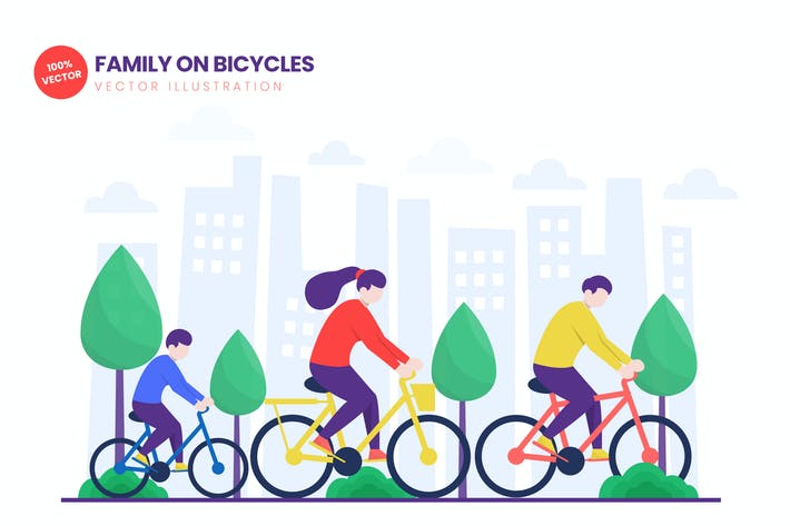 Thumbnail for Family On Bicycles Flat Vector Illustration
