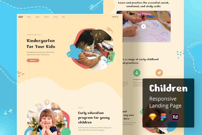 Responsive Zielseite für Kinder