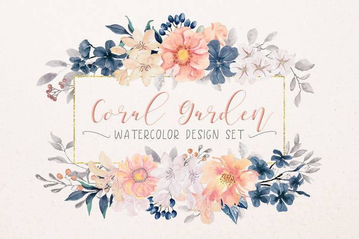 Thumbnail for Coral Garden Watercolor Clip Art Collection