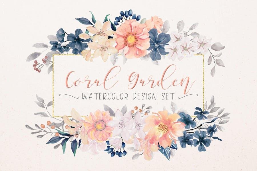 Coral Garden Watercolor Clip Art Collection