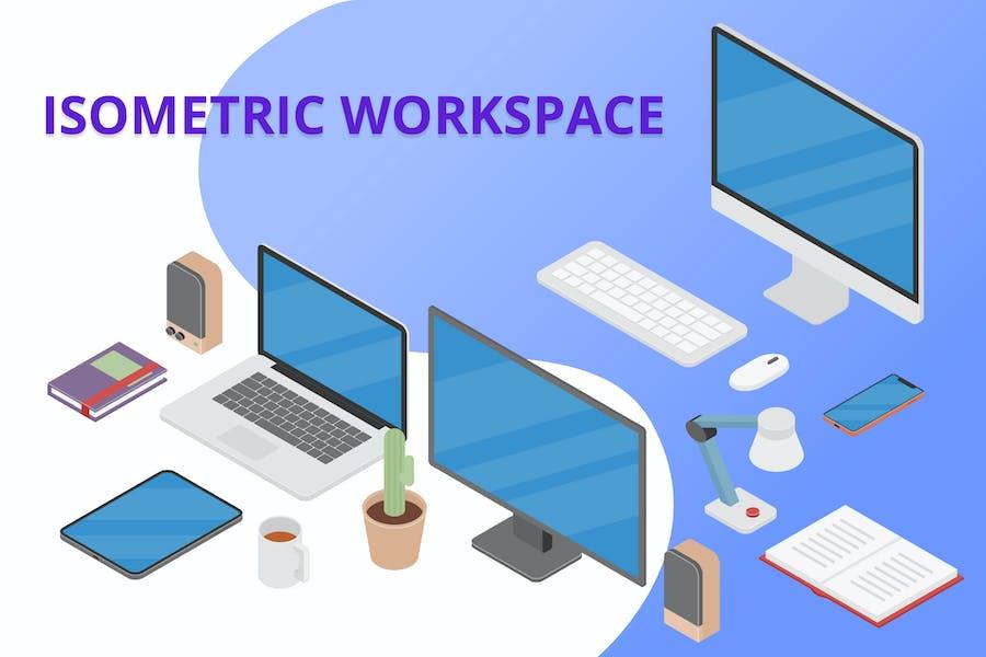 Isometric Workspace Scene