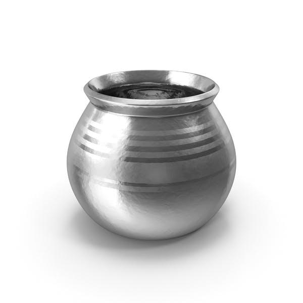 Silberner Keramiktopf mit Vollkornkorn
